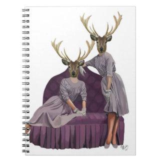 Deer Twins in Purple Dresses.jpg Spiral Notebook