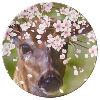 Deer Under Cherry Tree Porcelain Plates