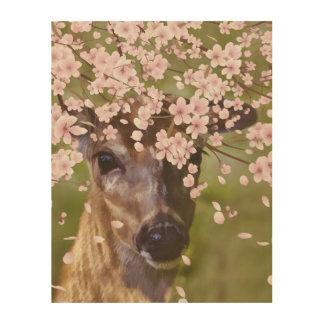 Deer Under Cherry Tree Wood Canvas
