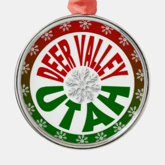 Deer Valley Utah red green snowflake ornament