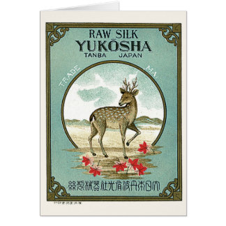 Deer Vintage Japanese Silk Label Card