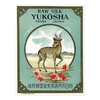 Deer Vintage Japanese Silk Label Postcard