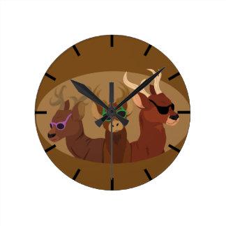 Deer Wearing Sunglasses Round Clock