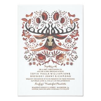 Deer Wedding Invitation with Woodland Animals
