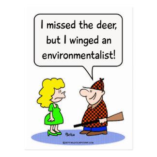 deer winged environmentalist postcard
