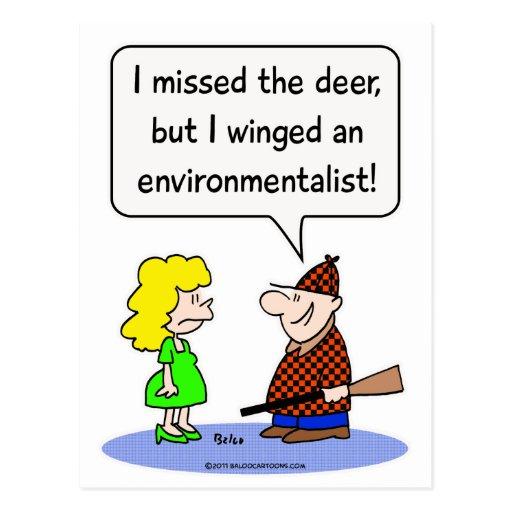 deer winged environmentalist post card