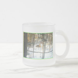 Deer Winter Comfort* The Dear Visitor ~ Frosted Glass Coffee Mug