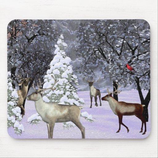Deer winter gathering mousepad