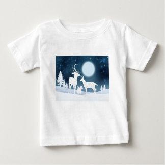 Deer Winter Scene Background Baby T-Shirt