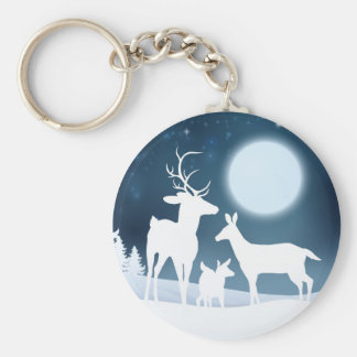 Deer Winter Scene Background Basic Round Button Key Ring