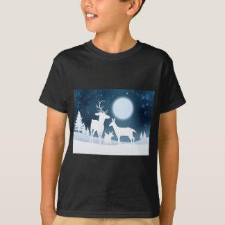 Deer Winter Scene Background T-Shirt