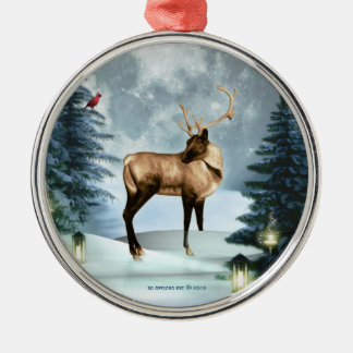 Deer Winter Scene Squar Silver Ornament