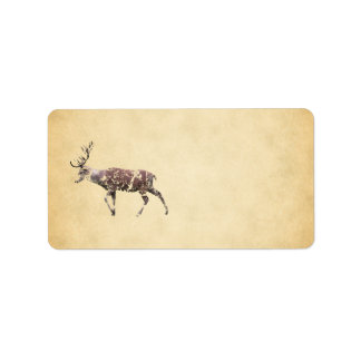 Deer with a Grungy Look Label