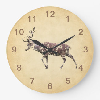 Deer with a Grungy Look Large Clock