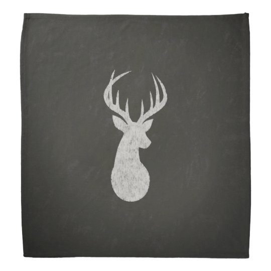 Deer With Antlers Chalk Drawing Bandana