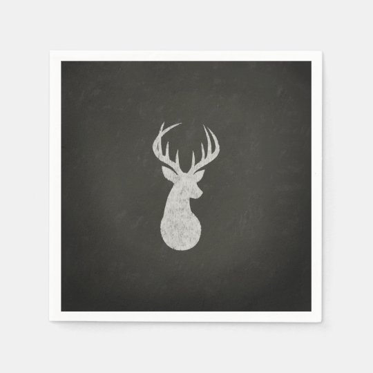 Deer With Antlers Chalk Drawing Disposable Serviette