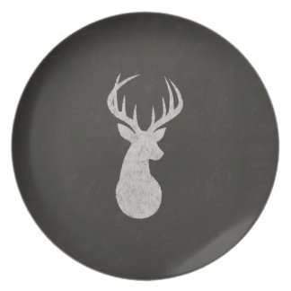 Deer With Antlers Chalk Drawing Plate