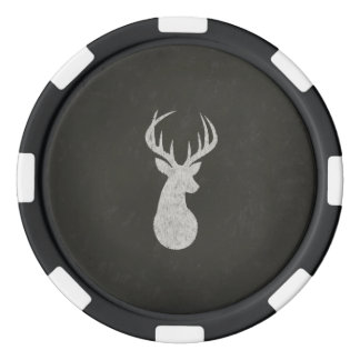 Deer With Antlers Chalk Drawing Poker Chips