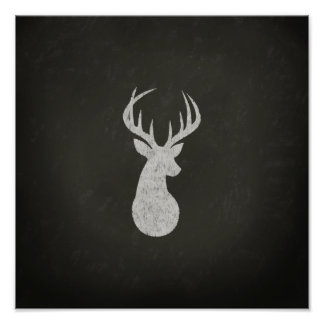 Deer With Antlers Chalk Drawing Poster
