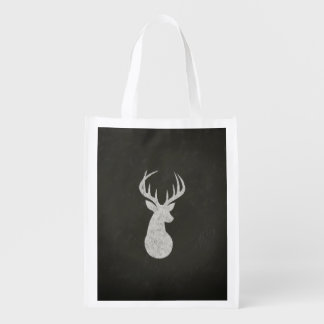 Deer With Antlers Chalk Drawing Reusable Grocery Bag