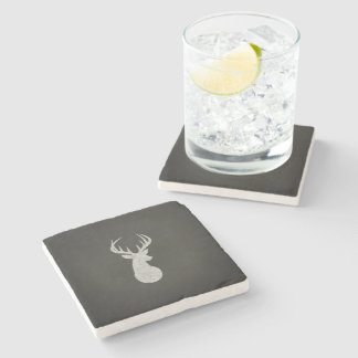 Deer With Antlers Chalk Drawing Stone Beverage Coaster