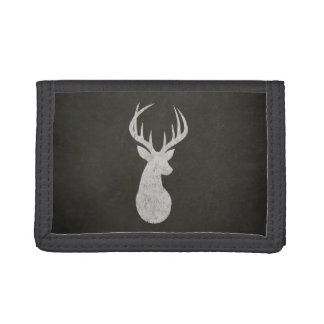 Deer With Antlers Chalk Drawing Trifold Wallets