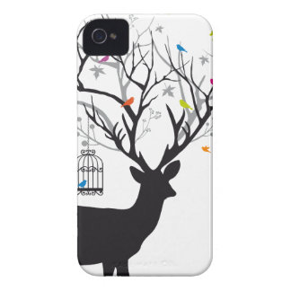 Deer with colorful birds and birdcages iPhone 4 Case-Mate case