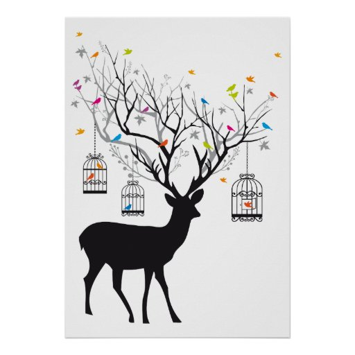 Deer with colourful birds and birdcages poster