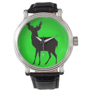 deer with green background image on watch