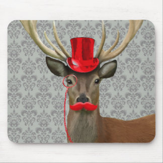 Deer With Red Hat and Moustache Mouse Mat