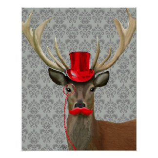 Deer With Red Hat and Moustache Poster