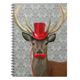 Deer With Red Hat and Moustache Spiral Notebook