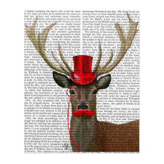Deer with Red Top Hat and Moustache Acrylic Wall Art