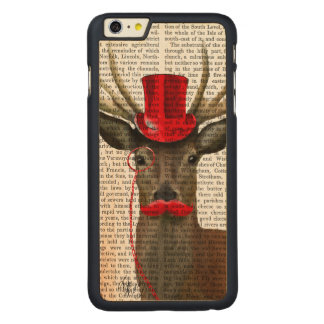 Deer with Red Top Hat and Moustache Carved Maple iPhone 6 Plus Case