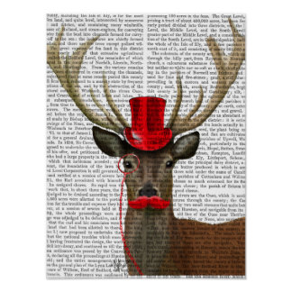 Deer with Red Top Hat and Moustache Poster