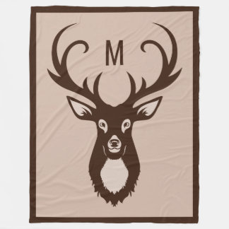 Deer with Your Monogram fleece blankets