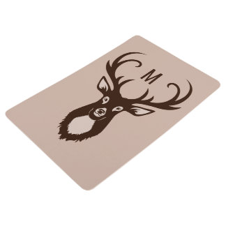 Deer with Your Monogram floor mat