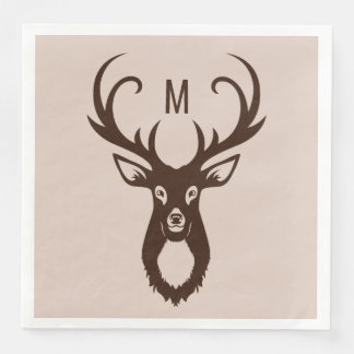 Deer with Your Monogram paper napkins