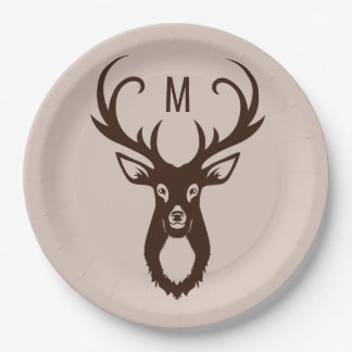 Deer with Your Monogram paper plates