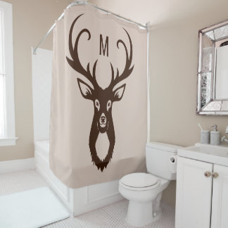 Deer with Your Monogram shower curtain