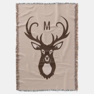 Deer with Your Monogram throw blanket