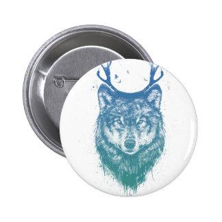 Deer wolf 6 cm round badge