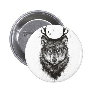 Deer wolf (black and white) 6 cm round badge