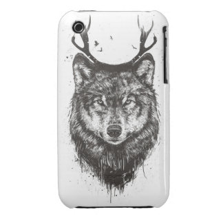 Deer wolf (black and white) iPhone 3 Case-Mate cases