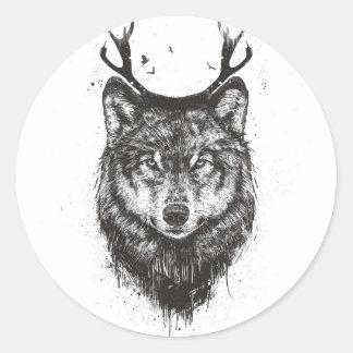 Deer wolf (black and white) round sticker