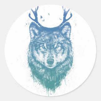 Deer wolf round sticker