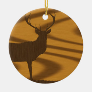 deer & woodgrain christmas ornament