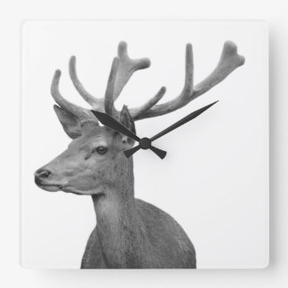 Deer woodland animal forest photo black and white square wall clock