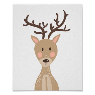 Deer Woodland Animal Nursery Wall Art Print