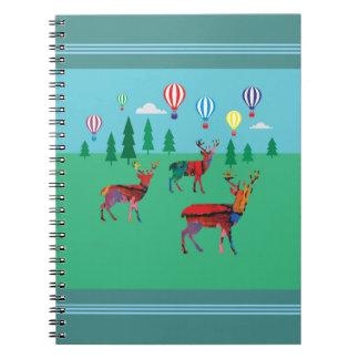 Deers & Hot Air Balloons Spiral Notebook